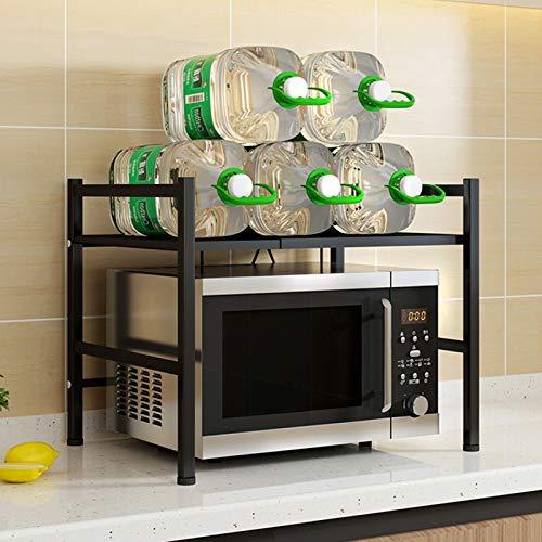 TZUTOGETHER Mikrowelle Rack Ausziehbarer 2 Ebenen, Mikrowellenregalständer mit 3 hängenden Haken,regal für küchenarbeitsplatten,mikrowellenständer küchenregal,25kg tragendes Edelstahl - Schwarz