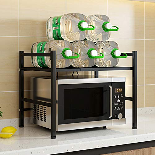 TZUTOGETHER Soporte Extensible para Microondas 2 niveles,Soporte para Microondas con 3 Ganchos,Estante de Horno para microondas para cocina,Organizador Estanteria Cocina,Cargar los portes 25kg