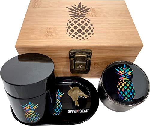 Pineapple Stash Box Combo with Lock - Glass stash jar...