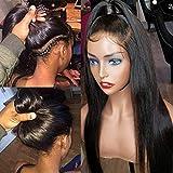 TOOCCI 360 Lace Frontal Wigs Cap Human Hair Wig Perruque Bresilienne Lace Wig Afro Meches Cheveux Brésilienne Naturels Droit (14')
