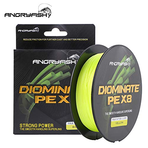 ANGRYFISH 8 Strands Braided Fishing Line-Excellent Tensile Smooth-Super Strong for Saltwater and Freshwater-High Value(Yellow,30LB/0.23MM-547YD)