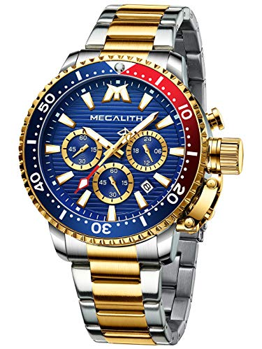 MEGALITH Orologio Uomo Cronografo Orologio Militare Uomo Acciaio...