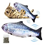 Rtwrtne Catnip Fish Toy para Gatos, Gato eléctrico, Mecedora, Juguete Interactivo, Felpa Realista, Catnip, Limpieza Dental, Gatos (Pez Sapo)