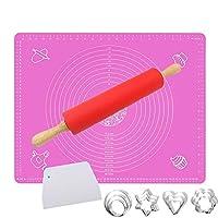 amrta tappetino in silicone 60x40cm 1 o 2 con tappetino per dolci di misure senza bpa per fare i biscotti pane dessert (rosa 1 pezzi+strumenti da dessert)