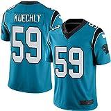 L-SLWI Hombres Rugby Jersey Ropa De Fútbol Lucas Kuechly # 59 Carolina Panthers Rugby Uniforme De Las Camisetas De Manga Corta De Impresión Superior - Negro,Azul,L