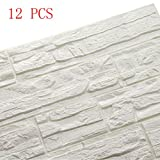 Doremy 3D Brick Textured Pattern Wall Panels Wallpaper Self-Adhesive PE Foam Waterproof Modern Style for Living Room Bedroom Kitchen Background Decoration (12PCS, White)