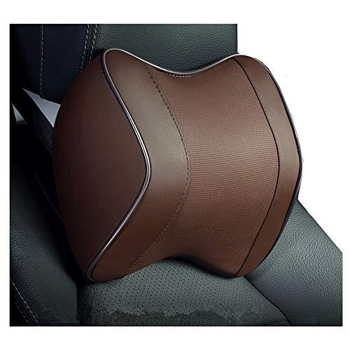 Car Neck Pillow,Car Neck Support Pillow for Relieving Neck Fatigue,100% Soft Memory Foam,Pu Leather ,Ergonomic Design (Brown, 1)