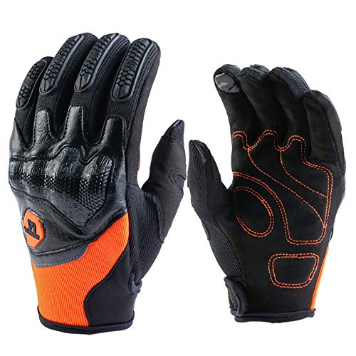 Motorrad Handschuh Herren Damen Sommer Touchscreen Motorradhandschuhe Motorrad Cross Radsport Fahrrad Handschuhe aus Leder+Lycra(Orange,XL)