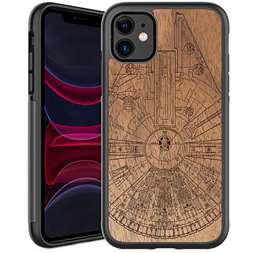 GOODON iPhone 11 Case,Real Wood Grain Cover with Fashionable Floral Flower Designs,Slim Fit Rugged Shockproof Protective Phone Case for Apple iPhone 11 Spacecraft