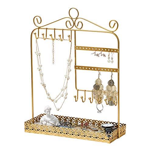 Joyería Caja de Almacenamiento Joyería de oro Soporte de árbol Organizador Organizador Organizador Metal Pantalla Pendientes Pendientes y Anillo Bandeja Perspago Holder Holder Colgador de joyas