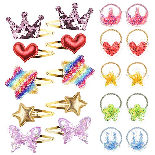 20 Stück Haarschmuck Set für Mädchen mit Haarspangen Haargummis Glitzer Haarklammern Haarclips für Kinder Damen