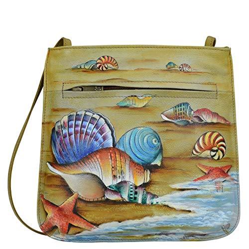 Anuschka Umhängetasche aus echtem Leder mit mehreren Fächern., Geschenk des Meeres, Einheitsgröße
