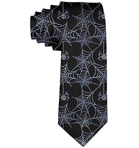 Hommes Date Cadeaux Nouveauté Polyester Textile Cravate Soyeux Doux Doux Halloween Toile D'araignée Cravates Idéal Pour Les Mariages Danses De Fête