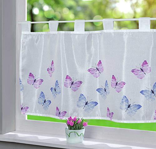 Gardinenbox Scheibengardine Voile »ULM« HxB 43x100 cm Schmetterlinge Bedruckt Sichtschutz Transparent Küchenfenster