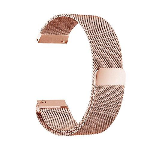 Schnellwechsel-Armband - Breite 18mm / 20mm / 22mm / 23mm/ 24mm Rostfreier Stahl Uhrenarmband mit Magnet Milanese Schleife Edelstahl-Uhrenarmband (18mm, Rosengold)
