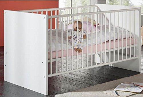Dreams4Home Babybett \'Anni\', Kinderbett Gitterbett Juniorbett Babyzimmer Kinderzimmer, weiß matt oder Sonoma Eiche sägerau weiß matt, Farbe:Weiß matt