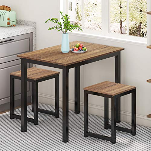 HOMOOI 3 Piece Dining Table Set with Stools Small Dining Table Set for 2 Kitchen Table Set, Industrial Brown