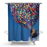 lxianghao Cuadros para El Baño con Ganchos Cortinas Tejido De Poliéster Casas Divertidas con Globos Shower Curtain 180 X 180 Cm