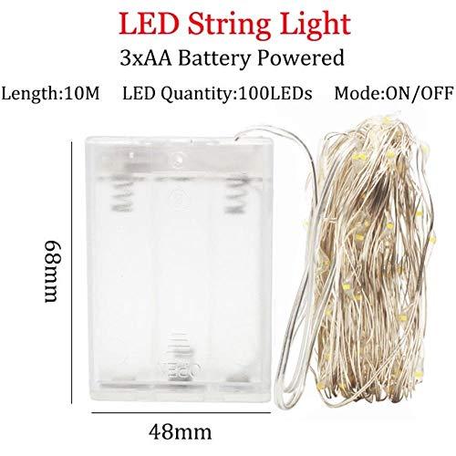 Led-lichtsnoer 10 m, 5 m, 2 m, zilveren draagriempje, Kerstmis, bruiloftsfeest, decoratie, aangedreven door 5 V batterij USB-lichtketting, lila, 10 m 3 A batterij