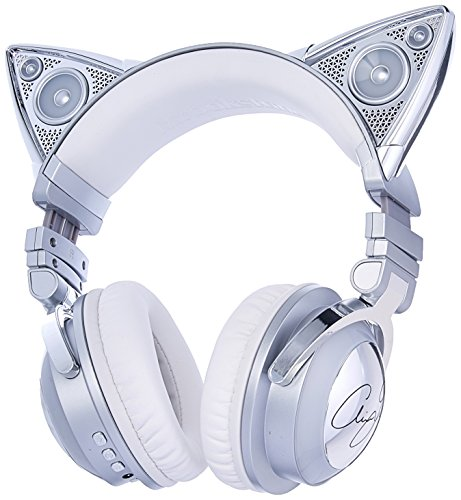 Brookstone Limited Edition Ariana Grande Wireless Cat Ear Headphones with External Speaker, Bluetooth Microphone, and Color Changing Accents