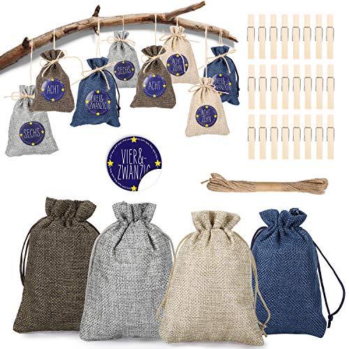 HHOOMY 24 Adventskalender zum Befüllen Selbstbefüllen Geschenktasche,24 Zahlen-Aufklebern Sackleinen Beutel für den Adventskalender zum Basteln und Befüllen, Weihnachten Basteltasche