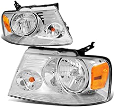 Factory Style Headlight Compatible with Ford F150 04-08 Lincoln Mark LT 06-08, Driver and Passenger Side, Chrome Housing Amber Corner