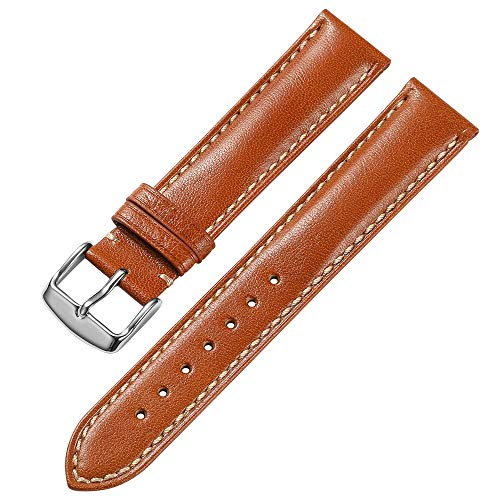 iStrap 18 mm 19mm 20 mm 21mm 22 mm echt Leder Uhrenarmband Armband gepolstert Kalbsleder Gurt Edelstahl Schnalle Super Weich – Schwarz Braun Dunkelbraun