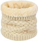 heekpek Calentador de Cuello Bufanda de Tubo Lazo para Hombre y Mujer Multifuncional Grueso y Cálido Bufanda y Gorra para Deportes de Invierno Desgaste de Pareja Fulares (Beige)