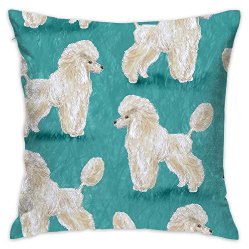 akingstore Custom White Poodles On Medium Teal_3865 - Fundas para cojines blandos, fundas para cojines de algodón y lino, 18 x 18 pulgadas, para sofá, cama, habitación, coche