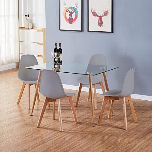 GOLDFAN Moderne Küche Esstisch Glas Rechteckig mit 4 Stühlen Buche Beine Geeignet für Esszimmer Büro Wohnzimmer, Grau