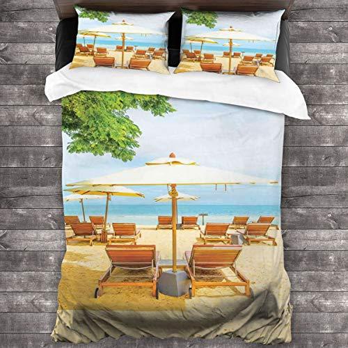 BEITUOLA Juego de Funda nórdica,Sombrilla y sillas en la Playa Tropical Destino de Vacaciones de Verano,1 Funda de Edredón y 2 Fundas de Almohada 140 x 200cm