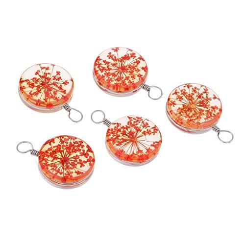 D DOLITY - Juego de 5 Colgantes de Perlas de Cristal para decoración de Bodas y Fiestas, Rojo, 1.1 x 0.31