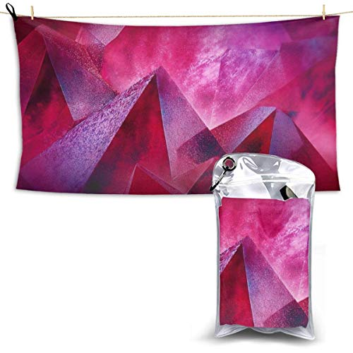 XCNGG Quick Dry Bath Towel, Absorbent Soft Beach Towels, Geometry 3D Moutain for Camping, Backpacking, Gym, Travelling, Swimming,Yoga 28.7'' X 51''