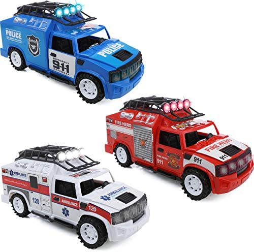 IQ Toys Fire Truck Police Car Ambulance Set of 3 Emergency Rescue Vehicles Playset with Lights product image