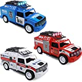 IQ Toys Fire Truck Police Car Ambulance - Set of 3 Emergency Rescue Vehicles Playset with Lights and Sirens