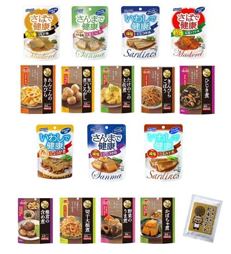 和食 惣菜 16種類 セット イチビキ おふくろの味 ・ はごろも 健康パウチ + 薬味ばあちゃんの七味唐辛子 10g 常温保存