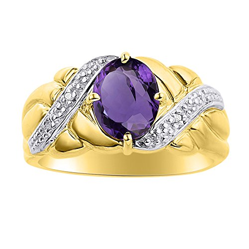 Juego de anillos de amatista y diamante en oro amarillo de 14 quilates – piedra de color anillo de nacimiento