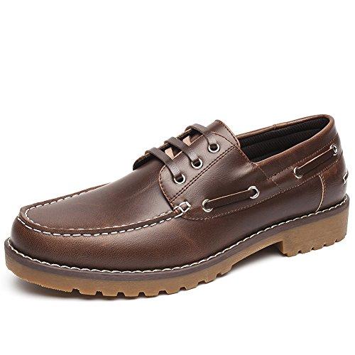 Zapatos Nauticos Barco Marrones para Hombres - Mocasines Cómodos Hombre, Adecuado para El Trabajo y el Uso Diario, Zapatos de Cordones Oxford, Conveniente para Todas Las Estaciones BROWN-43