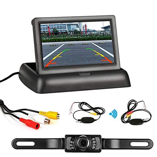 """Kfz-Rückfahrkamera - 4,3\""""Faltbarer LCD-Bildschirm HD Rückfahrkamera-Kit IP68 Wasserdichtes kabelloses Rückfahrkamera-Parksystem für LKWs, PKWs, Minivans, Geländewagen, Busse"""