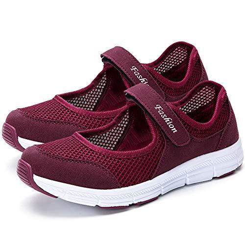 [HUMBGO] レディーススニーカー ナースシューズ マジックタイプ 安全靴 軽量 通気性 柔軟性 看護師 介護士 婦人靴 スボーツスニーカー ワインレッド EU36 (23cm)
