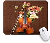 VAMIX マウスパッド 個性的 おしゃれ 柔軟 かわいい ゴム製裏面 ゲーミングマウスパッド PC ノートパソコン オフィス用 デスクマット 滑り止め 耐久性が良い おもしろいパターン (デイジーの花に寄りかかってチェロミュージックポップアートヴァイオリン)