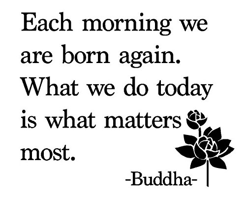 Newclew Each Morning we are Born Again. What we do Today is What Matters Most - Buddha Removable Vinyl Wall Art Inspirational Poetry Quotes and Saying Home Decor Decal Sticker ((M) 22''x18'')