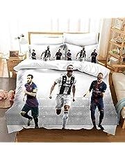 NIU 3-delat sängklädesset sängöverkast 100 % bomull för barn sängöverkast söta täcken för tonåringar 3-delat set vändbar hemtextil julsängkläder, Messi och Ronaldo Mbappé