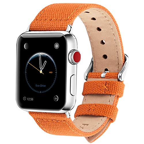 Fullmosa Kompatibel Apple Watch Armband 42mm 44mm in 8 Farben, Armband Stoff Leinen Style für iWatch Armband Serie 5/4/3/2/1,Kürbis-Orange 42mm/44mm