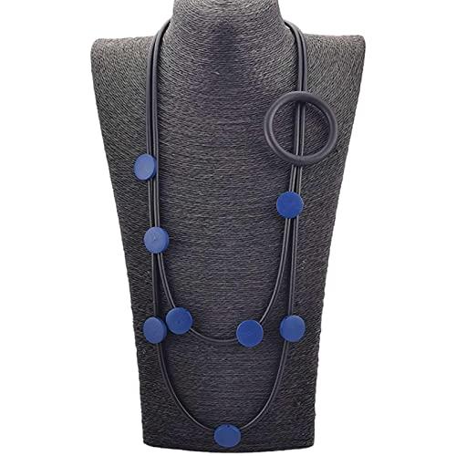 CHENLING Gargantilla de diseo Collares de goma Jewlery suter gtico collar accesorios crculo joyera madera cadena tnica