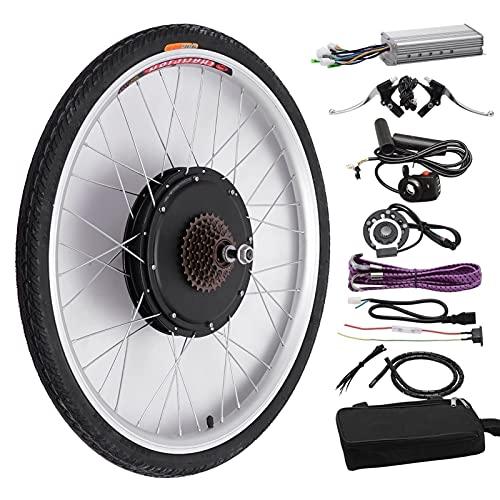 SKYWPOJU Kit de Conversion de Moteur de vélo 26'48 V 1000 W, Kit de contrôleur de Roue arrière de Vitesse de vélo électrique, pièces de Frein de Roue arrière de vélo