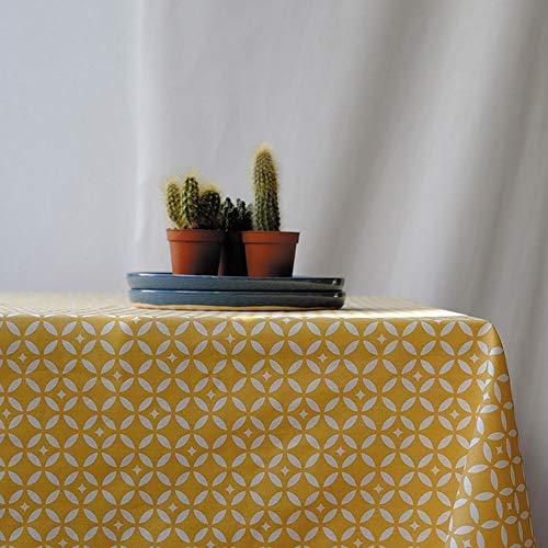 Fleur de Soleil N240OVEMOSJ Nappe ovale anti-tache imperméable Coton/Ourlée Mosaïque/Jaune 240 x 160 x 0,2 cm
