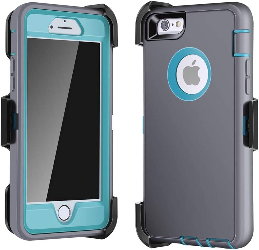 LTifree Defender Case for iPhone 6/6s, Holster with Belt Clip, Screen Protector, Kickstand, Shockproof Buffer, Retail Packing, Blue Color