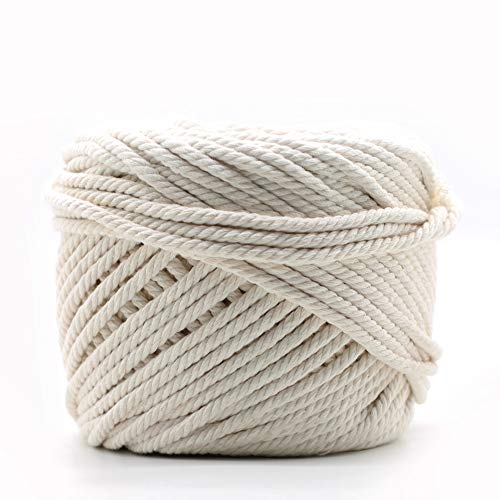 Macrame Cord 100% Natural Cotton 5mm / 328 ft for Wall Hanging Plant Hanger...