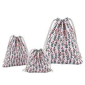 Abaría – 3 unidades bolsa de algodón con cuerdas – Pequeña saco bolsas – Bolsa inserto organizador para bebé ropa juguete pañales – Bolsa de regalo – 25x 30 cm, 19 x 23 cm, 14 X 16